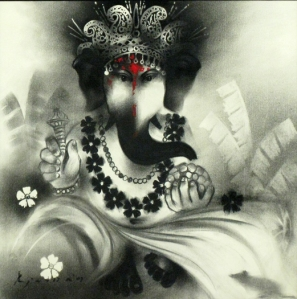 Ganesh with charcoal